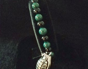 Grenade Charm Bracelet with Green and Black Glass Beads.
