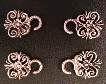 Flower scroll Dirndl hooks. Miederösen. Dirndl buttons loops. Clasps. Metal hooks loops. Trachten ösen. Metal pewter steampunk hardware .