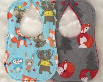 Fox & Friends Baby Bib Set - Gender Neutral Baby Shower Gift - Cotton Flannelette Minky Bibs