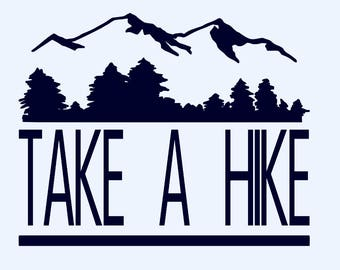 Take a Hike decal, hiking decal, mountains and trees, car decal, sticker
