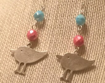 Antique Silver plated bird beaded earrings