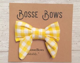 Yellow Fabric Hair bow, Easter bow, Girls checkered bow, yellow girls bow, sailors bow, fabric bow,  girl bow, girls headband, bow headband