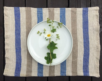Blue Striped Placemats, Linen Placemats, Rustic Placemats, Flax placemats