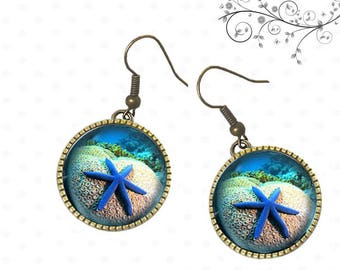 Starfish images on these earrings, sea, ocean, sand
