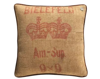 German Vintage Burlap-Linen mix Pillow with leather piping  -  19 x 19""