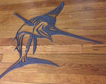 Metal cut marlin wall decor