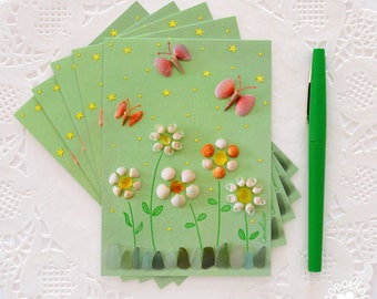 Set of 5 postcards composition flowers and butterflies with shells