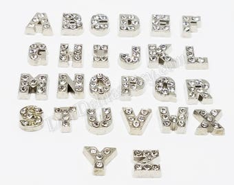 Rhinestone Letter Floating Charms, Alphabet, Silver Toned Letters, Living Memory Locket Charms, DIY A to Z Initial Letters, Jewelry Findings