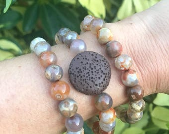 Choose One. 8 mm Crazy Lace Agate Bead Set with Lava Stone.