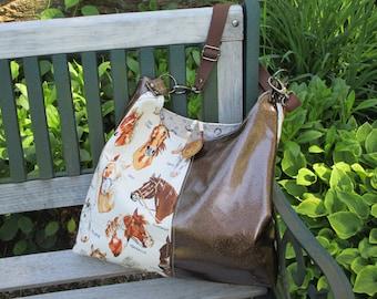 Glitter Vinyl Handbag, Horse Tote, Handmade Cotton CanvasTote Bag, Equestrian Theme Hobo Bag by DarkHorsesDesigns