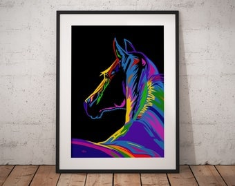 Gift for horse lover, gift for woman, horse painting, horse wall art, horse decor, horse print, horse art, horse gift, wall picture, pop art