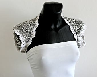 White and grey bridal silk bolero, hand crocheted wedding shrug, woman silk bolero shrugs