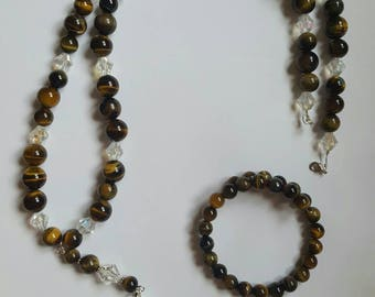 Tiger Eye Beaded Necklace and Memory Wire Bracelet