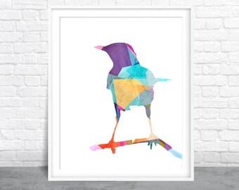 Bird wall art, Bird Watercolor, Aviary art, Bird on Branch
