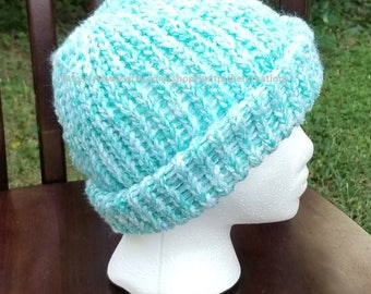 Aqua Messy Bun/Pony Tail Hat