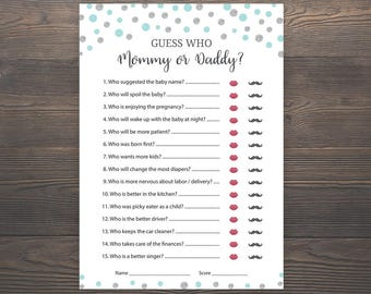Silver And Blue Baby Shower Games, He Said She Said, Mommy Or Daddy Game