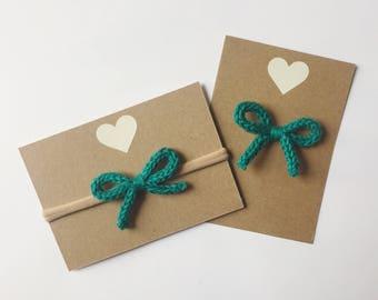 Green bow - hand knit hair bow - baby bow - nylon headband or alligator clip