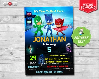 Pj Masks Invitation - EDITABLE TEXT - Pj Masks Invite - Pj Masks Birthday Party - Pj Masks Printable Cards - Instant Download- PJMASKS