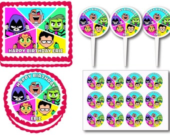 Teen Titans Go! Birthday Party Edible Cake Cookie Toppers or Plastic Cupcake Pick Stickers Decoration Baking Supply