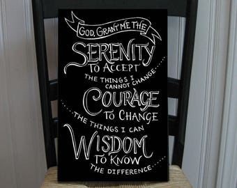 Decorative Serenity Prayer Handpainted Wood Sign 16 x 10.5