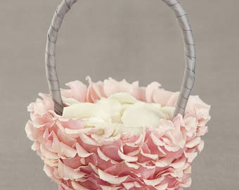 Flower Girl Basket, Bamboo with Rose Petals