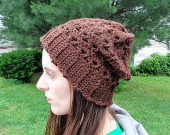Slouchy beanie, slouchy hat, urban beanie, urban slouch hat, summer slouch hat, summer slouch beanie, brown hat, brown beanie, fashion hats