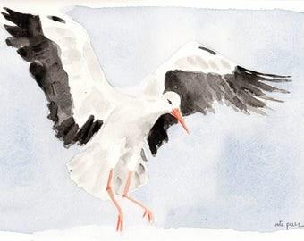 Stork. Original watercolor