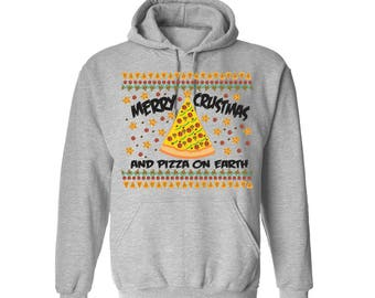 Merry Crustmas and Pizza on Earth Hoodie