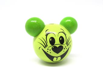 Wooden 3D lime green mouse head bead