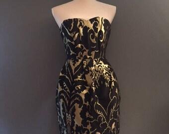 Handmade women's Dress. Strapless women's Dress. Balloon style dress. Black and gold tone dress.