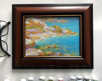 original framed oil painting seascape 9x12 hand painted sea clifs classical russian fine art interior home living room decor by A.Salatov