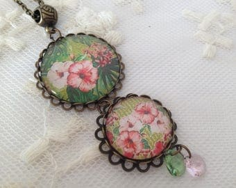 Cameo necklace flowers and swarovski elements peritas.