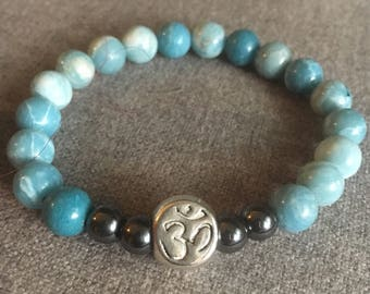 Larimer and Hematite Beaded Bracelet with Om