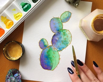 Watercolor Paddle Cactus Painting | Hand Painted | Made to Order | Custom Sizes
