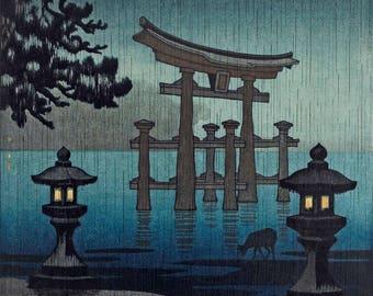"Japanese Art Print ""Miyajima in the Rain"" by Tsuchiya Koitsu, woodblock print reproduction, cultural art, asian art, rain, torii gate, deer"