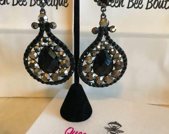 Black and Charcoal  Austrian  Crystal Chandelier Earrings