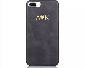 Personalised initials Black Vintage PU Leather Love Heart Phone Case Apple iPhone 5 6 6s 7 8 10 X Plus Embossed Cover Customized Monogram