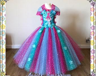 Princess Poppy The Troll Inspired Tutu Dress. Sparkly Costume Dressing Up Fancy Dress Party Wear Birthday Dress Pageant Gala Ball Gown Tutu.