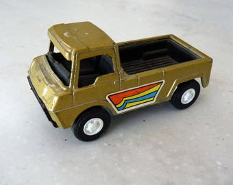 "Vintage 1969 Tootsie Toy Gold Pickup, Black interior, Very Nice!, Diecast Truck, Bonus ""mystery car"" included with sale!"