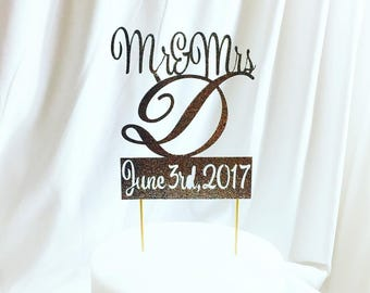 Custom Wedding Topper with Name Initial and Date