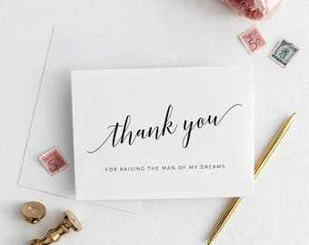 Thank You For Raising the Man of My Dreams Card | Printable Parents in Law Wedding Day Card | Parents-in-Law Wedding Day Card | Parents Card