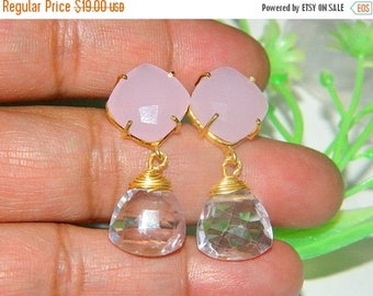 30off. Pink Quartz Earrings,Gold Vermeil Earrings Brithday Earrings,Quartz Faceted Trillion,Gold Earrings,Rose Gemstone Earrings, Gemstone E