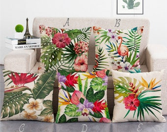 Colorful Flower Leaves Throw Pillow Covers Decorative Cushion Covers Pillowcases For Home