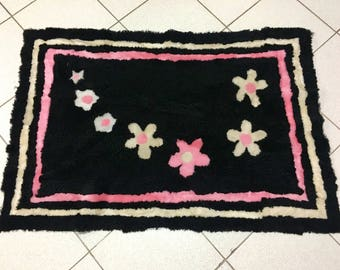 Beautiful Black Color with Flowers Sheepskin Mat. Luxury Sheepskin Rug