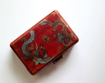 Vintage Chinese Red Dragon Trinket Box