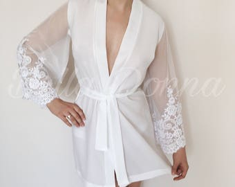 White robe, lace robe, Bridal Lingerie, bridesmaid robe, Nightdress, wedding robe, Wedding Lingerie, bridal robe, getting ready robes