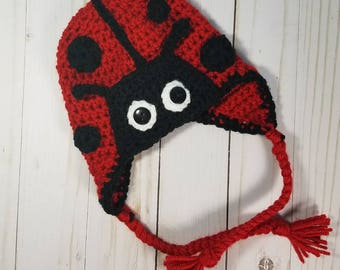 Crochet Baby Lady Bug Hat |Handmade | Boy or Girl | Baby Shower Gift | Photo Prop Costume | Made-to-Order