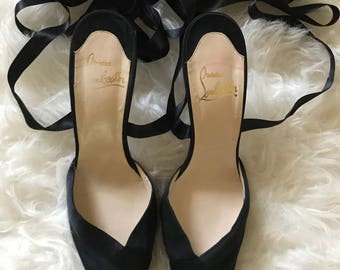 Vintage 90's Christian Louboutin Satin Lace Up Pumps