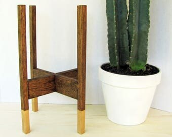 Mid Century Modern Plant Stand with Gold Legs