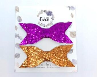 Glitter Leather Bow Newborn Headband Toddler Headbands Nylon Headbands 2pc Set